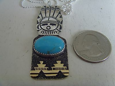 Sunface Pendant With Turquoise & Silver Ball Chain Signed By Richard Singer