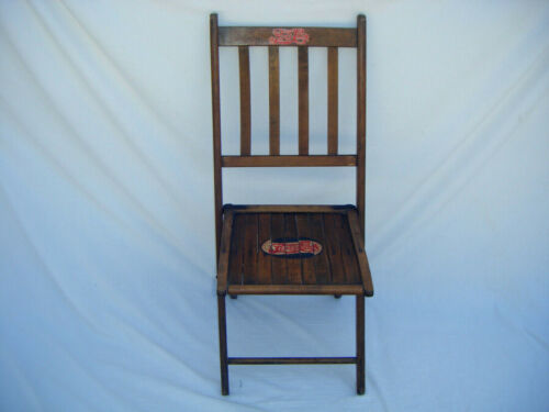 WW 2 Era Pepsi Cola Wooden Wood Folding Chair Property Of Pepsi One Of A Kind S