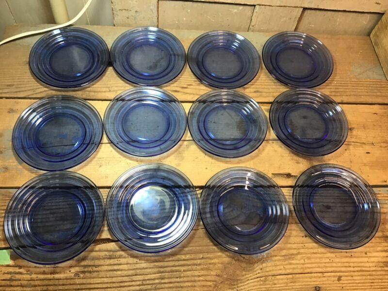 """Set Of 12 Vintage Cobalt Blue Glass 6"""" Plates Moderntone Depression"""