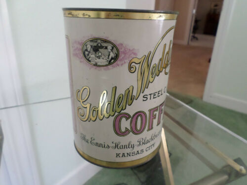 SCARCE, GOLDEN WEDDING 3 LB STEEL CUT COFFEE TIN CAN ENNIS-HANLY KANSAS CITY