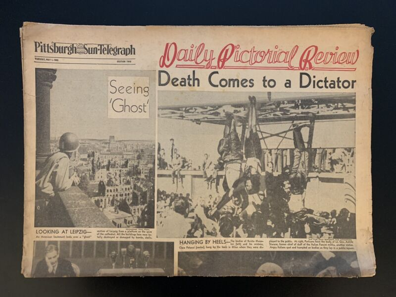 """Vintage 1945 Pittsburgh Sun-Telegraph """"Death Comes To A Dictator"""" Newspaper"""