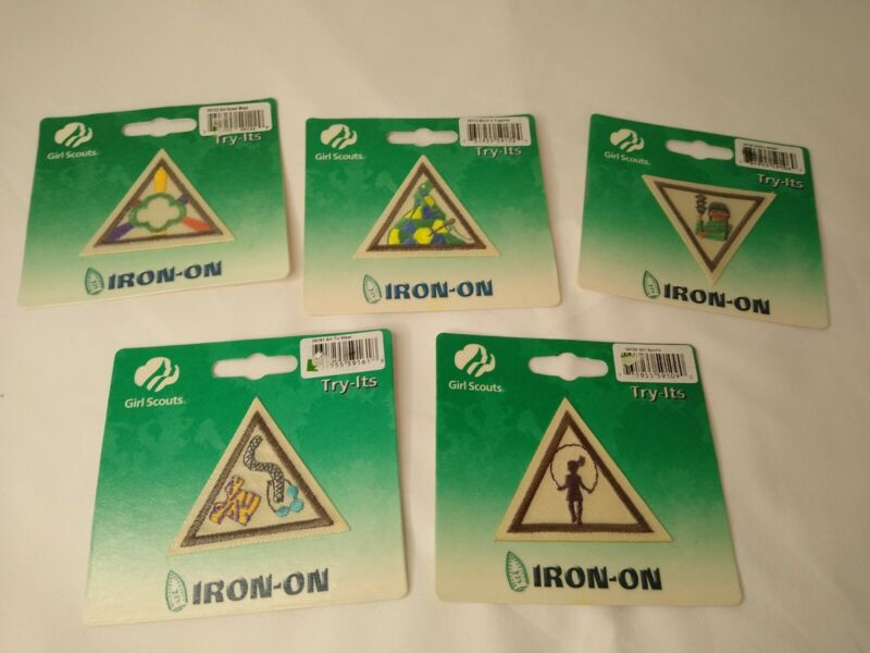 Girl Scout Brownies Badge Lot of 5 Patches Try-Its Iron On New Triangle Some Vtg