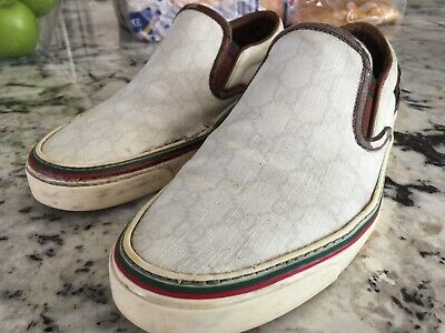 Rare GUCCI SLIP ON SNEAKERS Brown  & WHITE SIZE US 8