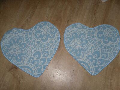 💚 2x IKEA Teppich Türkis Kinderteppich 67x61 cm Herz blau rutschfest VÄNSKAPLIG