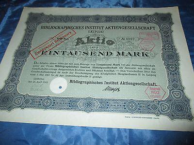 histor. AKTIE , Bibliographisches Institut AG LEIPZIG  1915 // 1000 Mark ,Nr. 92