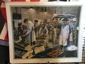 Macmillan 1950s School Poster Billingsgate Fish Market 1950s Retro Print Picture
