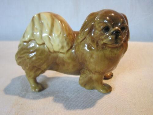 Vintage Mortens Studio ceramic pottery Pekingese dog figurine, gold label #1