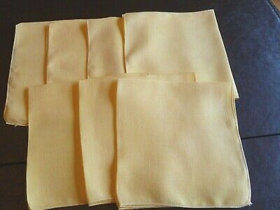 Set of 6 Vintage Yellow Linen Dinner Napkins