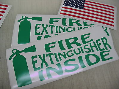 Green Fire Extinguisher Inside Decal Sticker 4 18 Wheeler Tow Truck Free Usa
