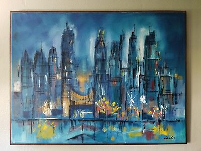 CARLO OF HOLLYWOOD Abstract Expressionism OIL PAINTING ON CANVAS - Hollywood Cityscape