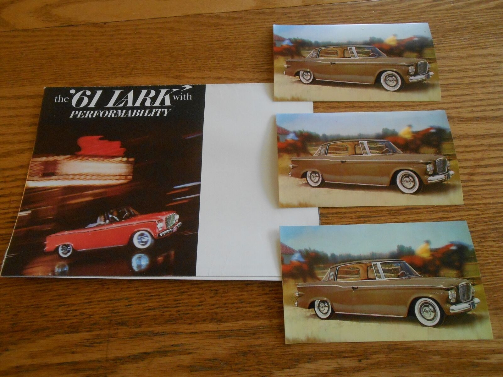 1961 STUDEBAKER LARK BROCHURE / CATALOG + Three 61 LARK POSTCARDS 4 For 1 Deal