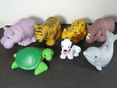 7 Fisher Price Little People Lot Zoo Talkers Animals Dolphin Tiger Rhino + A8329