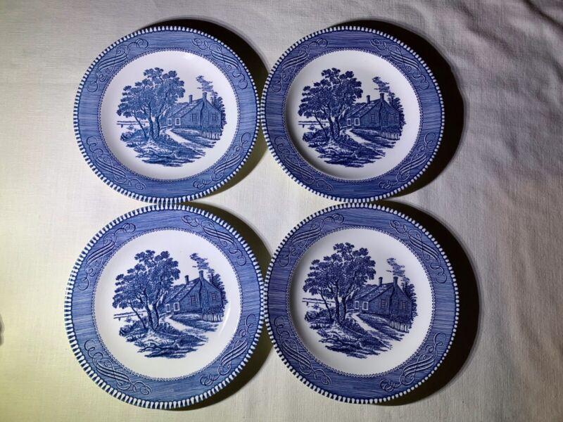 Currier & Ives Blue Royal China 4 Salad Plates Birthplace of Washington Free Shi