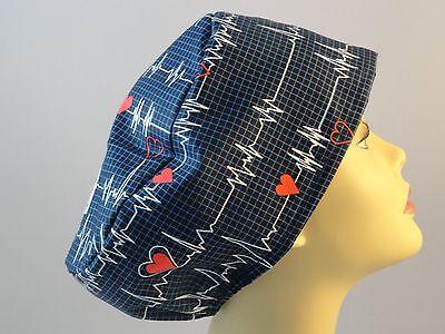 WOMEN'S SURGICAL_SCRUB HAT_CAP_Beats in time_dk blue_red hearts_beats_cotton Blue Scrub Cap