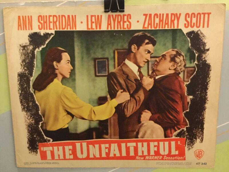 """SHERIDAN,ANN """"The Unfaithful"""" Original Lobby Card 1947"""