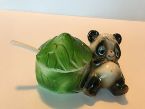 VINTAGE PORCELAIN PANDA BEAR SUGAR BOWL WITH LID AND SPOON FROM JAPAN
