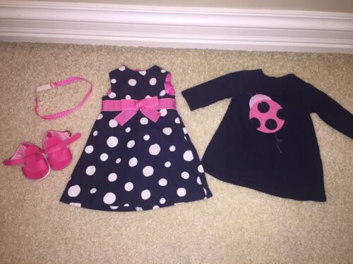 American Girl Hand Made Ladybug Navy Dress 2 Match Gymboree Garden One Of A Kind - $18.99