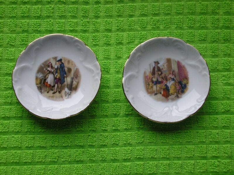 Set of 2 Antique Butter Pats - Schwarzenhammer Germany - Courting Couples