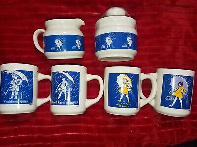 Vintage Morton Salt Umbrella Girl 4 mugs/creamer/sugar (7 pc) Lot. Set