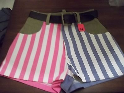 NEW 90s FAST FASHION JEAN SHORTS SIZE L PINK,GREEN,BLUE STRIPED+BELT hip hop 80s