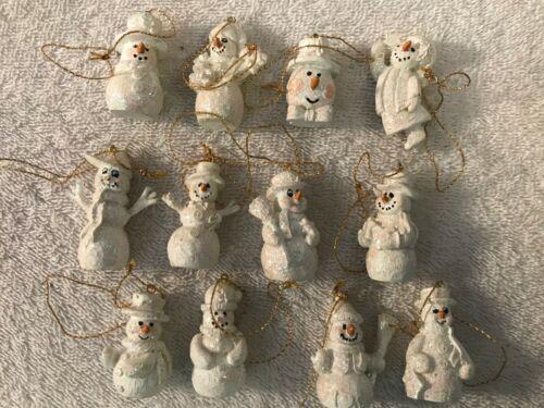 Christmas ornaments set of 12 miniature ceramic snowmen CH5484