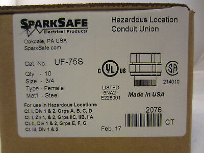 Box Of 10 Sparksafe Uf75s 34 Explosion Proof Union Unf75nr Unf205