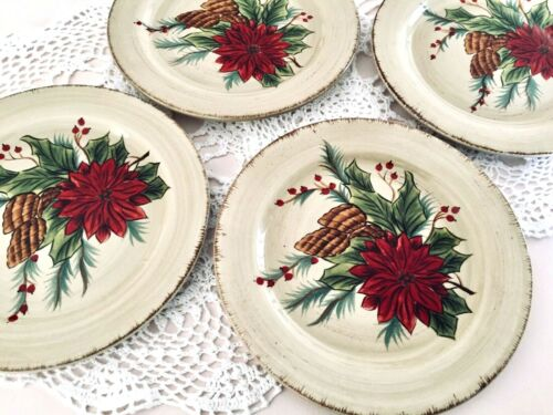 NEW Dario Farrucci Designs 4 PINECONES POINSETTIAS CHRISTMAS SALAD PLATES