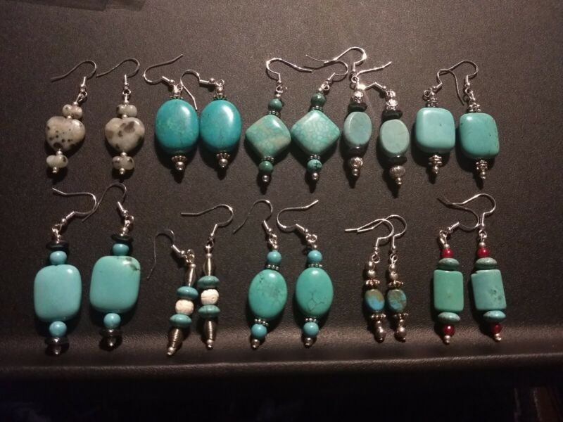 Wholesale lot Of 10 Pairs Of 925 Sterling Silver 💎 Turquoise Gemstone Earrings