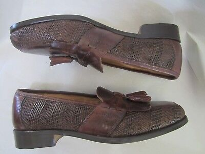ALFANI MENS BROWN FLEXIBLE CONSTRUCTION SHOES 7 M ITALY WOVEN LOAFER ALL LEATHER