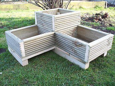 Corner Decking wooden garden planter, wood trough L shaped timber herbs planter
