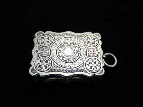 Lovely NATHANIEL MILLS Antique silver Victorian VINAIGRETTE, 1855 fine condition