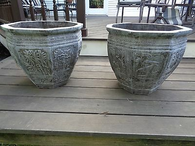PAIR OF SOLID BRONZE URNS, PALATIAL ANTIQUE  CHINESE/JAPANESE, 19TH CENTURY