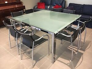 Large Square Glass Dining Table with 8 Leather Chairs Bentleigh East Glen Eira Area Preview