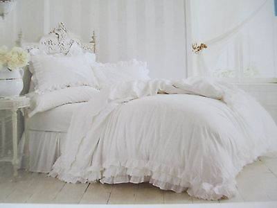 Rachel Ashwell Entirely SHABBY CHIC 3pc White Ruffle Lace Duvet Set - Full/Queen