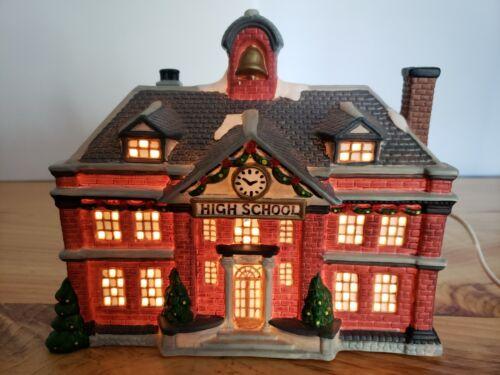 "Vintage St. Nicholas Square   ""HIGH SCHOOL""   Porcelain Lighted Village House..."