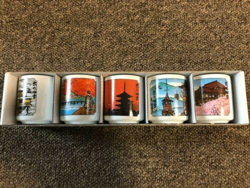 Japanese Sake Shot Glass Tea Mug Cup Guinomi 5 Sets Kyoto F266 MADE IN JAPAN