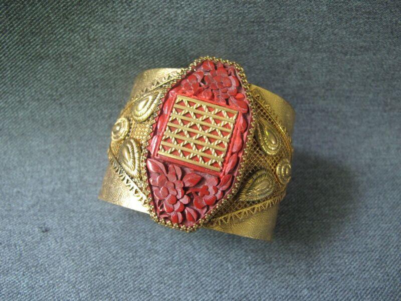 Vintage chinese flowers cinnabar medallion filigree goldtone wide cuff bracelet