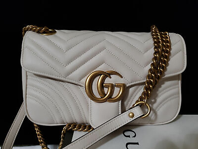 GUCCI GG MARMONT BAG QUILTED LEATHER SMALL WHITE AUTHENTIC MINT