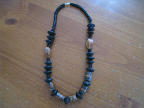 Black & Brown Wood Bead African Style Tribal Necklace