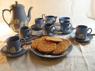 "Magnificent ""Wedgwood Blue Jasper Ware"" 22 piece Coffee Set, Beautiful !!!!."