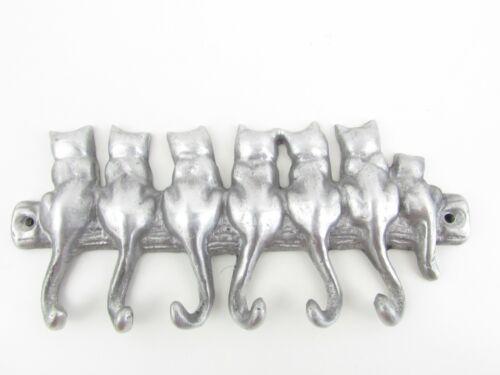 Metal 7 Cat Key or Tie Hanger, Hook Tail