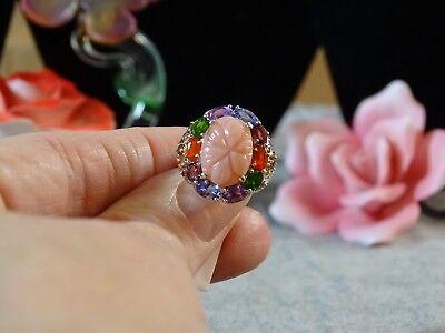 Peruvian Pink Opal Multi Gemstone Floral Ring 14K YG & Platinum Over 925 SS Sz 6