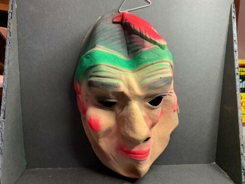 Vintage Halloween Rubber Mask, American Indian