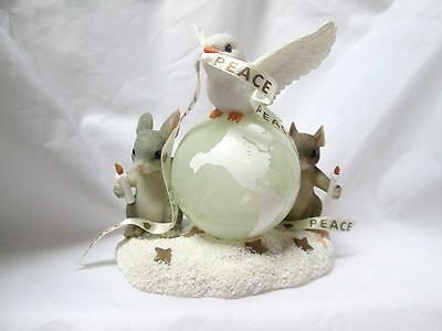 """Mouse Charming Tails Figurine Fitz & Floyd """"A World Of Good Wishes"""" 89/2000 dove"""
