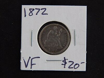 1872 Very Fine Seated Liberty Dime Circulated - Toned