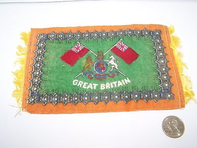 "c.1915 GREAT BRITAIN FLAG FLANNEL CIGARETTE PACK TOBACCO FELT ANTIQUE 8"" x 4.75"""