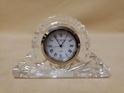 Waterford Crystal Clear Cut Cottage Mantel Clock Miniature Shelf Desk Clock 4