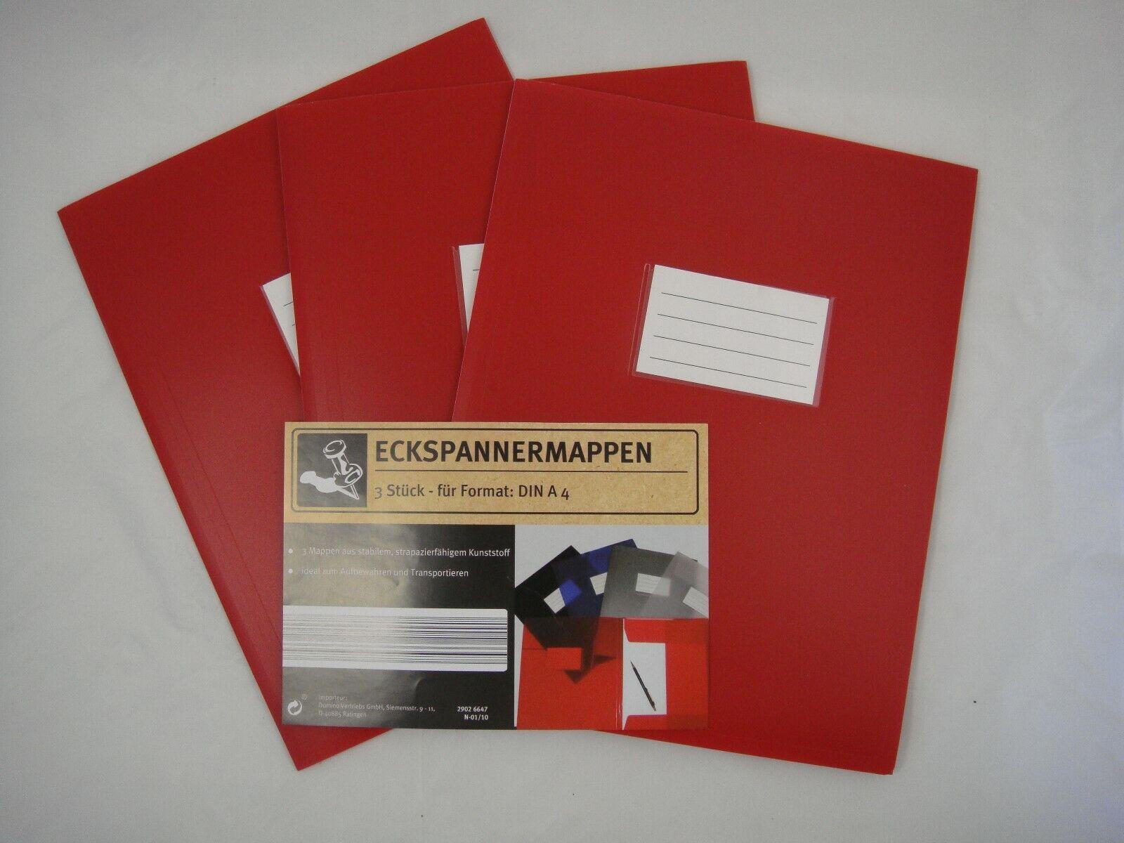 3 Eckspanner Eckspannmappen Spannmappen Sammelmappen Dokumentenmappen A 4 rot