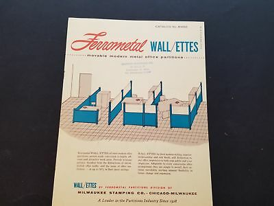 1950-60s Ferrometal Wallettes Moveable Office Partitions Catalog M462