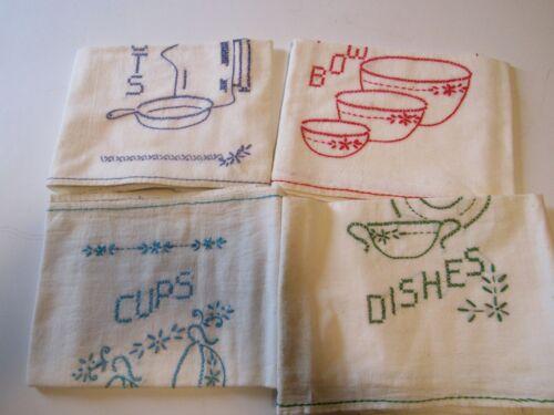 4 VINTAGE COTTON DISH TOWELS..FLOUR SACK..EMBROIDERED